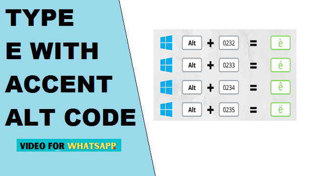 e with accent alt code