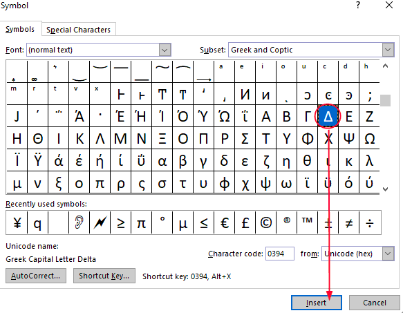 typing delta symbol in ms word
