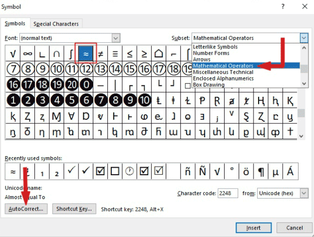 how to type almost equal to symbol