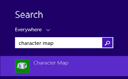 character map in windows