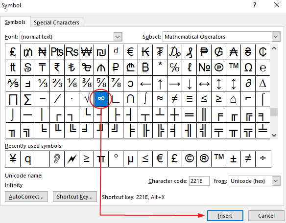how to type insert symbol in word