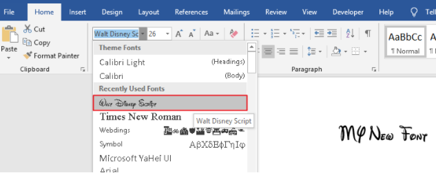 Fonts types in word