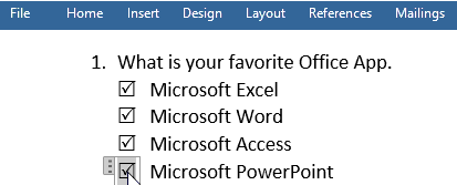 clickable checkboxes in Word